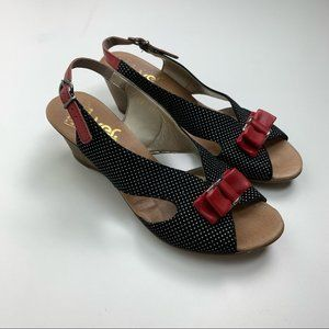 Rieker Black Slingback with Red Bow